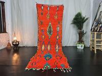 """Moroccan Vintage Handmade Runner Rug 3'1""""x9'8"""" Geometric Berber Red Wool Carpet"""