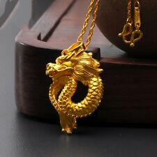 Fine Jewelry New Pure 24k Yellow Gold 3D Lucky Bless Dragon Pendant 3.86-3.99g