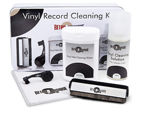 Retro Musique Deluxe Vinyl Record Cleaning Kit In Tin Wipes Fluid Stylus +Brush