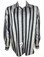 Pronto Uomo Mens Shirt Long Sleeve Button Front Black Gray Striped Sz XL NWT $70