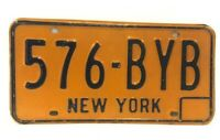 *VINTAGE* New York - NY License Plate - Yellow & Blue - 60's, 70's - 576-BYB