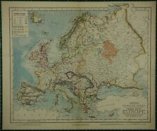 1883 LETTS MAP ~ EUROPE NORWAY SWEDEN BRITISH ISLES FRANCE SPAIN ICELAND ITALY