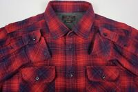 Zara Man Men's Flannel Plaid Slim Fit Button Shirt Red Blue Sz M