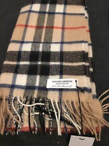 Locharron Made Scotland Camel Thompson Stole Lambswool Double Scarf Warm Soft
