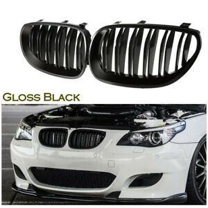 Gloss Black Front Kidney Twin Fins Grilles For BMW E60 E61 M5 5 Series 2003-2010