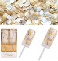 2 Paper Confetti Push Pops GOLD AND WHITE Wedding Engagement Kids Guests Cone