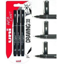 Uni Pin Fine Liner Pen Pigment Markers Waterproof Ink - 0.1, 0.3, 0.5mm Set of 3