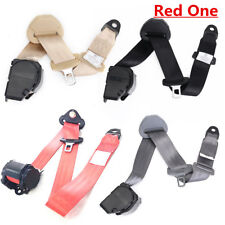 Red 3 Point Car Safety Seat Belts Lap Belt Seatbelts W/ Curved Rigid Buckle