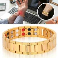 Gold Men Magnet Magnetic Bracelet Therapy Arthritis Pain Relief Health Gifts