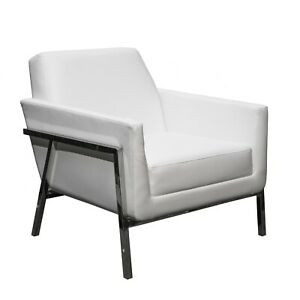 Luxury White Accent Faux Leather Stainless Steel Chrome Armchair new