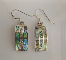 Sterling Silver Rectangular Abalone/Pau Shell Drop/Dangle Earring