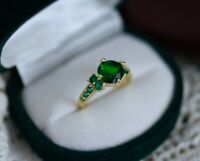 Vintage Jewellery Gold Ring Emerald White Sapphires Antique Art Deco Jewelry L 6