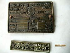 ANTIQUE ENGLISH  BRASS PLAQUES X2 ENGINEERING FACTORY WORKSHOP INDUSTRIAL