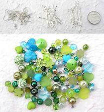 Earring Kit 10 Green Aqua Beads 20 Earwires Headpins Eyepins Christmas Gift