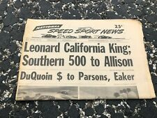 SEPT 8 1971 NATIONAL SPEED & SPORTS NEWS car racing newspaper - LEONARD