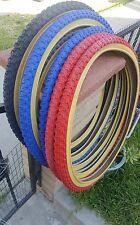 "1-26x1.75"" BMX BIKE BICYCLE DURO TIRE  black red blue gum wall"