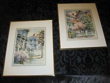 Josie Van Gent Edell (two) Signed Framed and Double Mattes watercolor prints