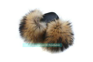 Max Large ! Natural Real Raccoon Fur Slides Slippers Sandals Shoes Sliders