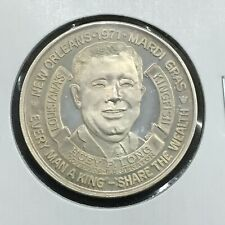 1971 Krewe of Crescent City Huey P Long .999 Silver Mardi Gras Doubloon
