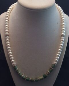 """Sterling Silver Turquoise And Cultured Freshwater Pearl Necklace Handmade 20"""""""