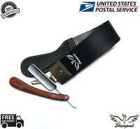 SHARPENING LEATHER STROP/BELT+BARBER SALON STRAIGHT CUT THROAT WET SHAVING RAZOR