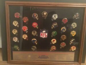 Nice 1980s nfl cloissone pin set.limited edition complete in frame