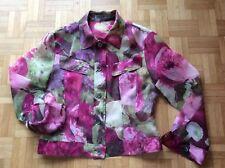 Seidenjacke grün rot lila N1 MARC CAIN Blumen 100% Seide 34 Organza Jacke LUXUS