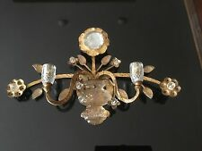 MAISON BAGUES Crystal Urn Wall Sconce 2 Light Vanity Lamp Gilt Iron Flower Leave