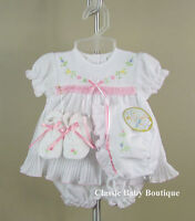 NWT Will'beth White Pleated Ribbon Dress 4pc Preemie Girls w/ bonnet & booties