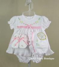 NWT Will'beth White Pleated Ribbon Dress 4pc Preemie Girls w/ bonnet & booties