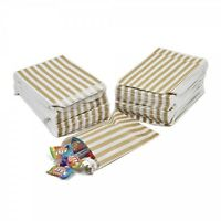 """GOLD Candy Stripe Gift Paper Party Bags Buffet Weddings Cakes Sweets Loot5"""" X 7"""""""