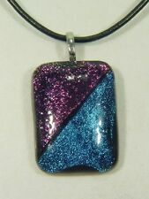 "BUTW Gorgeous Dichroic Glass 43mm 2Tone Pendant 16-18"" Leather Cord 8717D"
