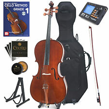 Cecilio Cco-300 Solid Wood Cello With Hard & Soft Case Stand Bow Rosin More