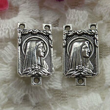 Free Ship 54 pieces Antique silver rosary and Mary connector 19x10mm  #036
