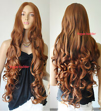 """35"""" Long Brown Spiral Wavy Cosplay Party Hair Wig 30#"""