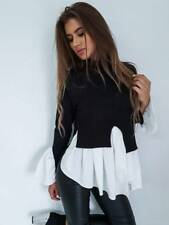 UK Fashion Women Long Sleeve Frill Ruffle Tops Casual Loose Ladies Blouse Shirt