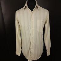 Lacoste Mens Shirt Size 39 MEDIUM Long Sleeve Beige Regular Fit Striped Cotton