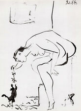 """Marvelous Pablo PICASSO 1954 Human Comedie Print """"Teasing the Kitty"""" FRAMED COA"""