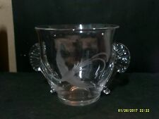 KOSTA BODA CRYSTAL HANDLED BOWL WITH ETCHED BIRD SIGNED & DATED 1996