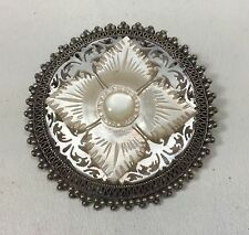 STERLING SILVER BROOCH PIN CARVED MOTHER OF PEARL JERUSALEM PALESTINE 1920s