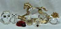 Swarovski & Other Crystal Figurine LOT Chips Horse Owl Bird Cat Pineapple Seal