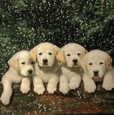 PUPPIES IN THE SNOW BLANKET - FUZZY SOFT - 50 X 60 NEW - Royal Plush Raschel