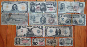 1863-1923 8 Horseblanket Large Size US Notes Currency Lot $10 Gold $2 $1 Silver+