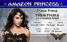 Wonder Woman Diana Prince Gal Gadot  plastic Identification card Drivers License