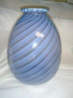 Blue And Clear. Spiral Art Glass Vase