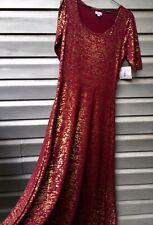 LULAROE Red Burgundy Crimson Gold Metallic Ana Maxi Gown Dress RARE!!