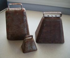 Vintage Cow Bell Sheep Goat Livestock Farmhouse Primitive Rusty Steel (Lot Of 3)