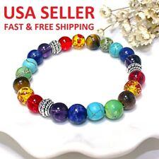 Unisex 7 Chakra Healing Balance Beaded Yoga Bracelet Reiki Prayer Stone Jewelry!