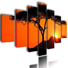 "HUGE EXTRA LARGE CANVAS PICTURES WALL ART ORANGE TREE SPLIT MULTI PANEL 80"""