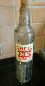 Vintage Shell x-100 Motor Oil Bottle Large 14 inches High 35 cms approx